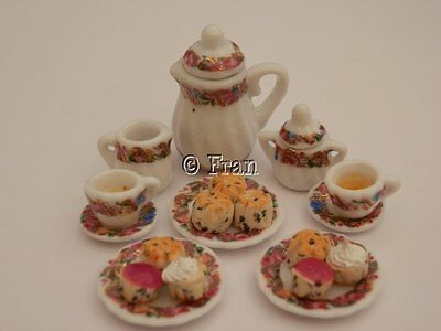 Dolls house food: Tea & scones with jam & cream  for two -By Fran