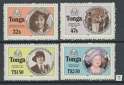 XG-AG020 TONGA IND - Girl Guides, 1985 75Th Anniversary, Queen Mother MNH Set