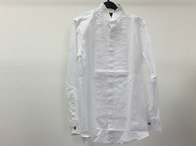 Mens White Wing Pleated Slim Fit Tuxedo Formal Dress Shirt Size 14 1/2 - 9A283