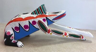 Oaxaca Mexico Painted Wood Carving of Frog
