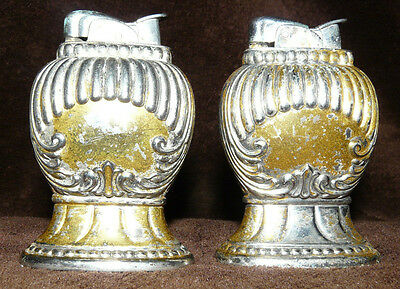 """Vintage Silver Evans Fuel Table Lighter ~ 2 Matching ~ 3.5"""" Tall"""