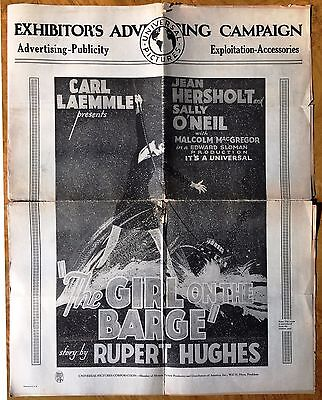 *THE GIRL ON THE BARGE (1929) Universal Pressbook Jean Hersholt & Sally O'Neil