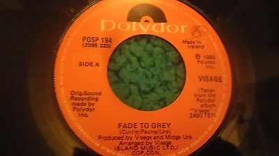 "Visage Fade To Grey 7""/1980/rare Irish Pressing/duran/numan/ultravox/japan/omd"