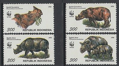 XG-BA700 INDONESIA - Wwf, 1996 Wild Animals, Rhinoceros MNH Set