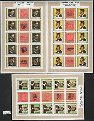 XG-AH150 GUINEA - Human Rights, 1968 Kennedy, M.L. King, 3 Imperf. Sheets MNH