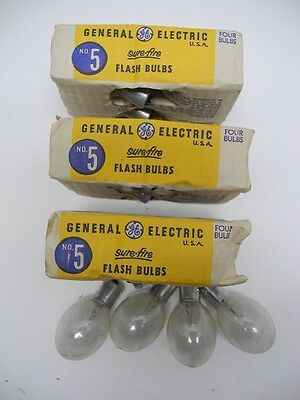 Lot Of 16 New Old Stock GE General Electric No. 5 Sure Fire Flash Bulbs