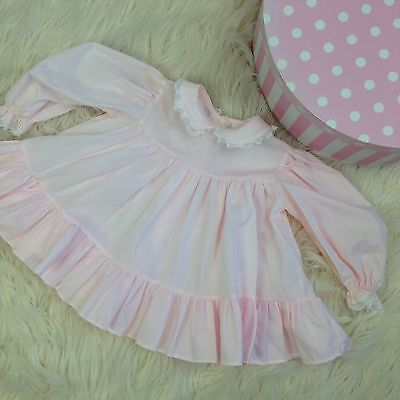 Vtg baby Pink Girls Dress Bryan 12 Months Long Sleeves clothes clothing outfit