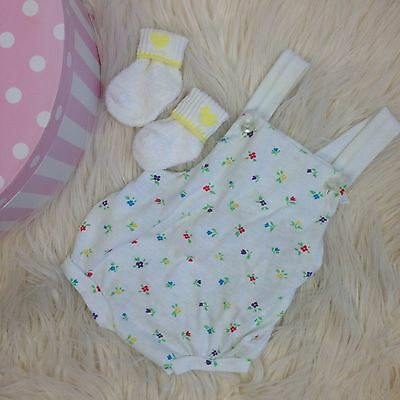 Vtg baby clothes clothing outfit Little Me 1980s One Piece Romper Socks Girl