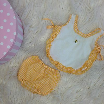 Vtg baby Play Suit Sun Romper Yellow Gingham clothes clothing outfit Sz 6 Mo