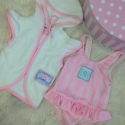 Vtg baby 18-24 Mo Pink Swimsuit Terry Robe Oshkosh Girl clothes clothing outfit