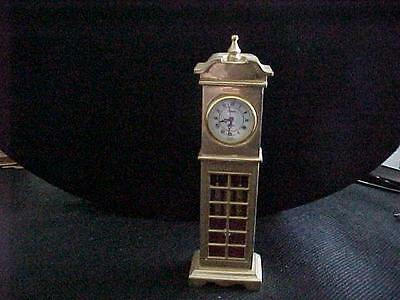 Vintage Brass miniature grandfather  clock made in Singapore Japan