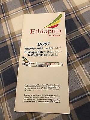 Ethiopian Airlines Boeing 757 Safety Card