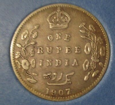 1907 India 1 one rupee coin