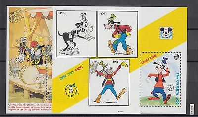 XG-AI220 GAMBIA IND - Disney, 1992 Goofy About Stamps, Music, 2 Sheets MNH