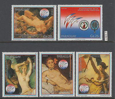XG-AI750 PARAGUAY - Paintings, 1989 Nude, French Revolution Anniv. MNH Set
