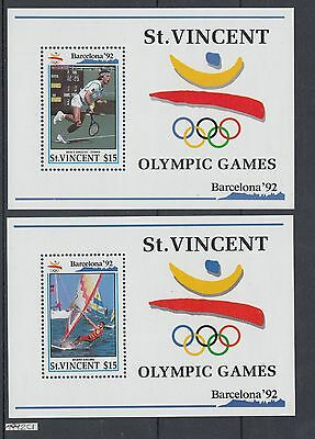 XG-AI790 ST VINCENT - Olympic Games, 1992 Tennis, Sailing, 2 Sheets MNH