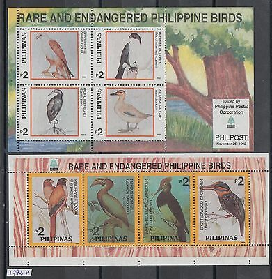 XG-AI910 PHILIPPINES IND - Birds, 1992 Rare End Endangered, 2 Sheets MNH