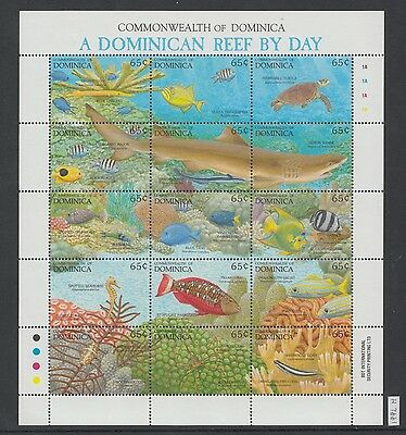 XG-AI960 DOMINICA IND - Marine Life, 1992 Fish, Reef By Day MNH Sheet