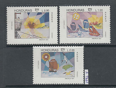XG-AJ330 HONDURAS - Paintings, 1992 Ships, Americas, Columbus MNH Set