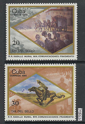 XG-AJ460 HAVANA - Stamp Day, 1986 Paintings, Horses, Mail MNH Set