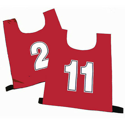 10 Large Football Mesh Training Sports Bibs - Numbered Red