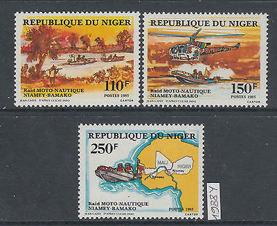 XG-AK430 NIGER IND - Ships, 1988 Motor Raid, Helicopters MNH Set