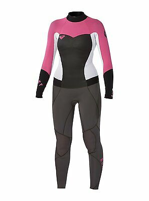 New Roxy Women Syncro 3/2mm Graphite/Pink ARJW103003 Back Zip Wetsuit Sz. 4