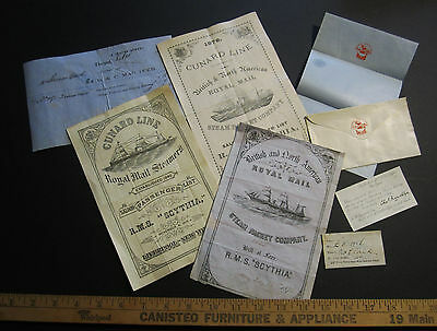 RARE - 1876 Cunard Steamship RMS Scythia - LARGE Early LOT - 1 Owner Fresh