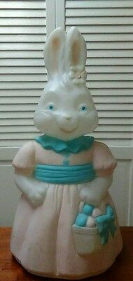 "Easter- Blow Mold- Girl Bunny Rabbit with Basket- Empire -App 24"" Ht. W/ Cord"