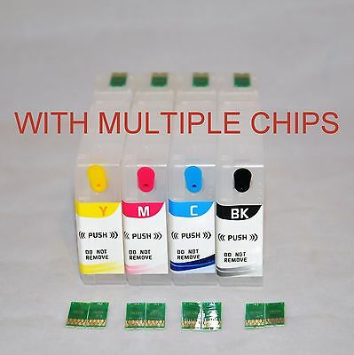 4 EMPTY refillable ink cartridge for Epson WF-4640 with Multiple 786 XL Chips US