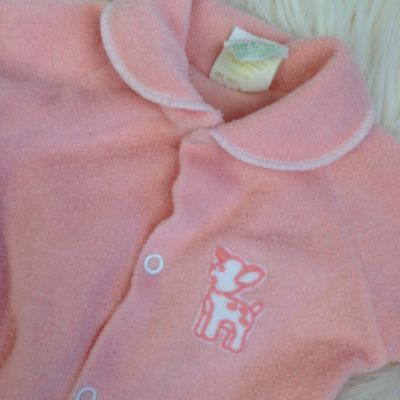 Vtg Sleeper Pink Deer Terry Cloth 6 Months Girl baby clothes Pj Footed