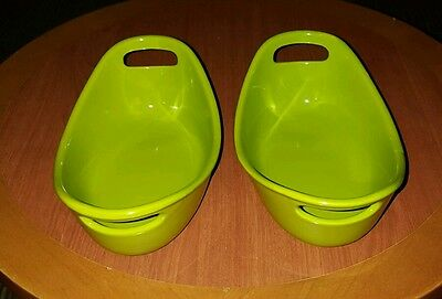 Set of 2 Rachel Ray 12oz Oval Lime Green Baking Dishes