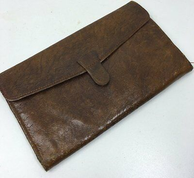 Vintage Tan Real Leather Wallet With Brass Corners - 1950's