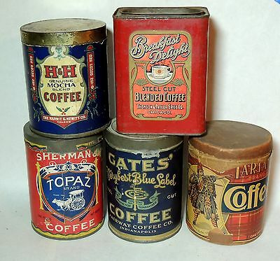 5 Lot Antique vtg Early 1900s COFFEE TINs Paper Label Can GATES Topaz H&H Tartan