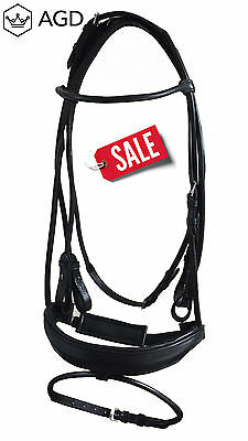Black rolled leather weymouth (double) bridle + rolled reins. Full sz. REDUCED!