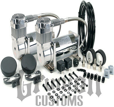Viair 380C CHROME Dual Pack Compressor Kit 200 PSI Train Horns Air Ride Bagged