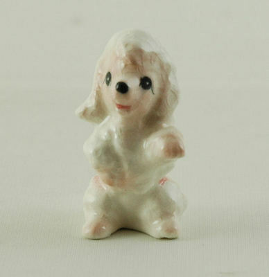 """Poodle Figurine in White and Pink 1-1/2"""" Tall"""
