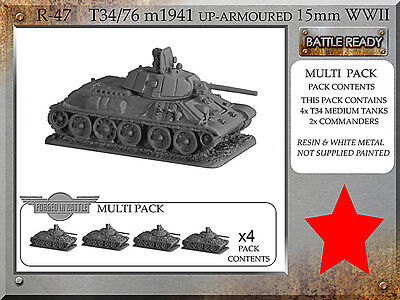 Forged in Battle 15mm Soviet T34/76m 1941 up-armoured x4  Flames of War NEW R47