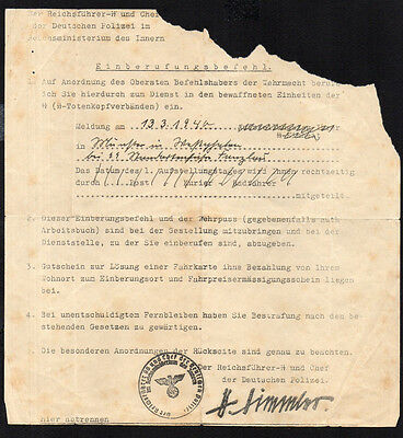 1940 German Document Elite Top Unit Signed By Head Leader - Ww2 Wwii Super Rare