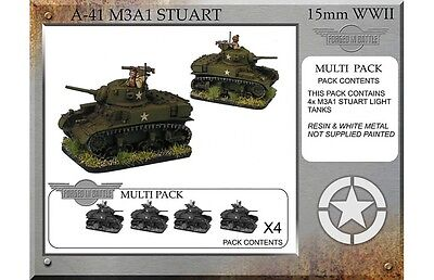 Forged in Battle 15mm USA Stuart M3A1 x4  Flames of War NEW A41