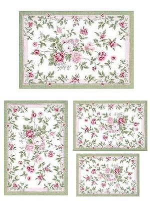 Dollhouse Miniature Green and Pink Floral Computer Printed Rug 1:12 Cotton