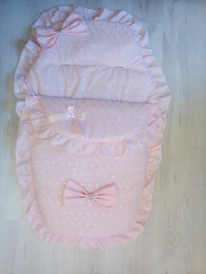 Pink Broderie Anglaise Pram/Pushchair Quilt/Footmuff/Cosytoes Liner for Baby  gc