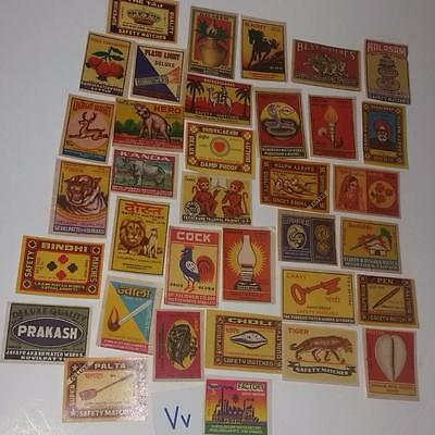 35 vintage match box paper labels from INDIA advertising lot scrap supplies
