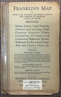 Vintage 1933 Franklin Map, Delaware, Montgomery, Chester Counties Pennsylvania