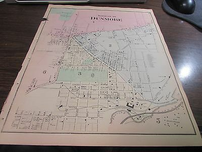 Original 1873 Borough Of Dunmore  Pa Map - Excellent