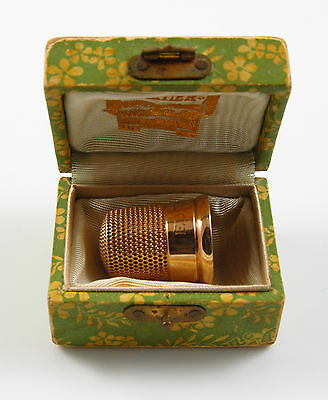 Vintage Estate 14K Gold Cartier Thimble In Original Box