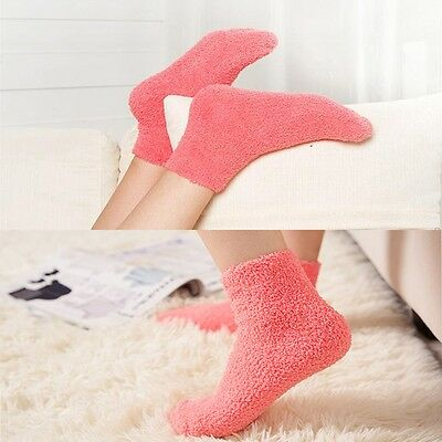 Women Girls Kids Gift Fluffy Warm Winter Soft Pure Color Bed Floor Socks