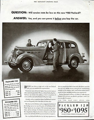 1935 Packard Car Ad--120 Touring Sedan-Low Service Costs--z417