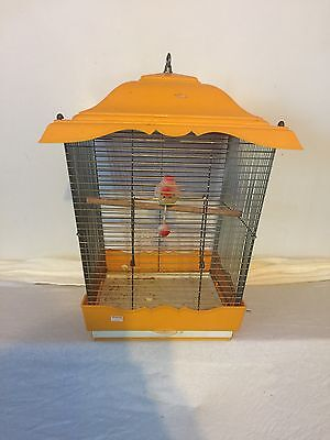 Lovely Vintage Yellow Hanging Wire Bird Cage With Plastic Top And Bottom