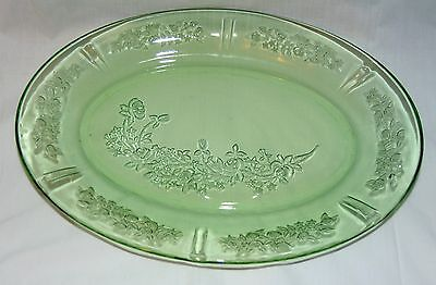 "Federal SHARON/CABBAGE ROSE GREEN *12 1/2"" OVAL PLATTER* #2"